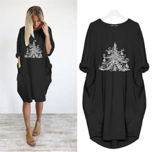 Load image into Gallery viewer, Christmas Tee Print Loose Round Neck Dress