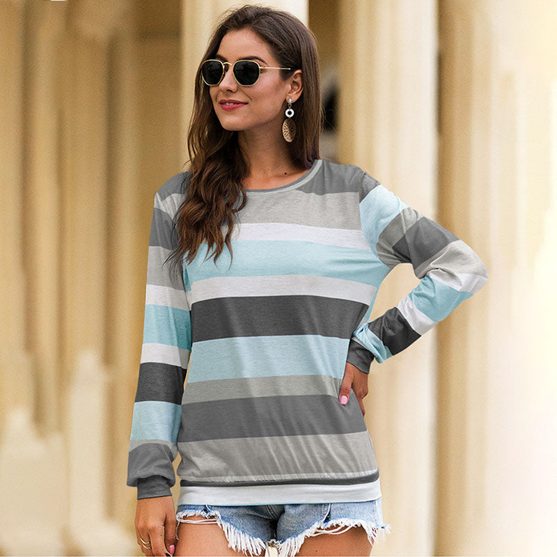 Women's Striped Long Sleeve Round Neck Top