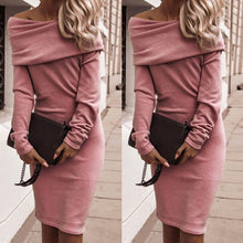 Load image into Gallery viewer, Women's Sexy Slim Off Shoulder Bodycon Dress Long Sleeve Party Evening Cocktail