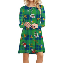 Load image into Gallery viewer, Women Christmas Plaid Print A-Line Above-Knee Dress Round Neck Long Sleeve Cute