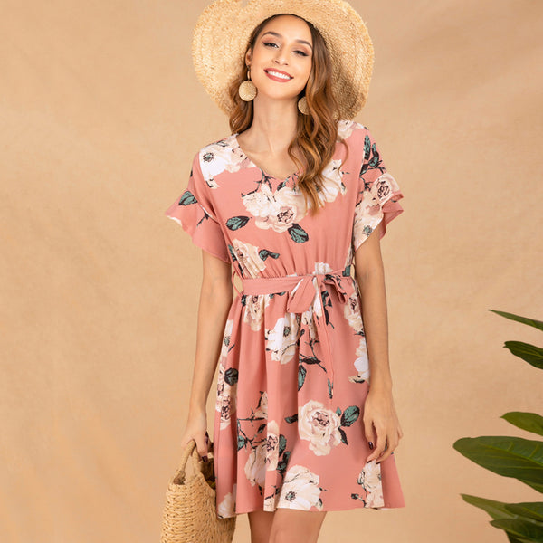 Women's Vintage Floral Dress for Summer - V-Neck, Short Sleeve, Lace-Up