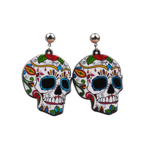 Halloween fear skull earrings