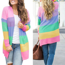 Load image into Gallery viewer, Women's Cardigan Sweater - Long Sleeve, Multi-Colors, Stripe