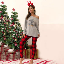 Load image into Gallery viewer, Women Christmas Plaid Print Tops Pants Trousers Suits Long Sleeve Cute Loose