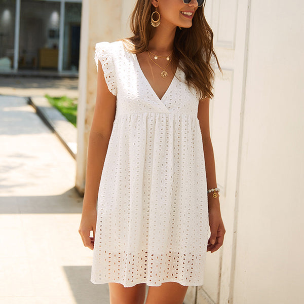 Damen White Summer Mini Dress - V-Ausschnitt, Lace Hollow, Loose Sleeveless