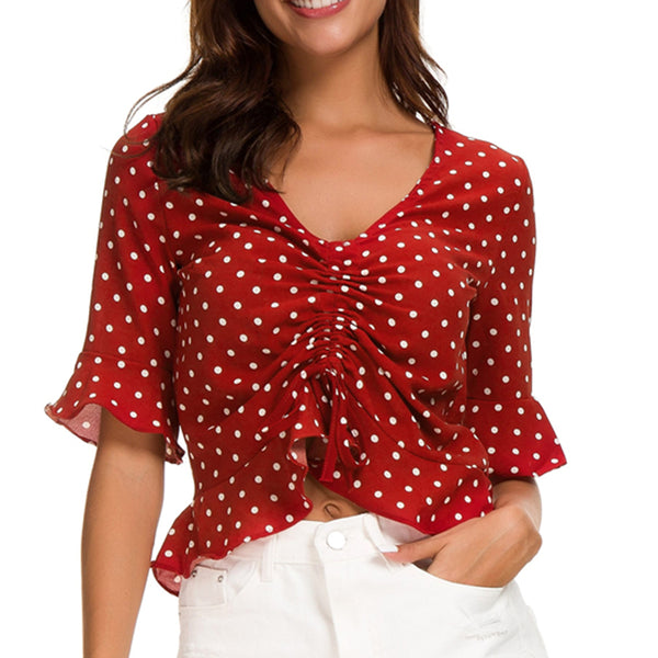 Women Tops Summer V-Neck Dot Pleated Ruffled Short Sleeve Lace-Up Fashion