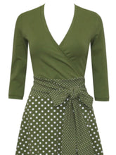 Load image into Gallery viewer, V Neck Polka Dots 3/4 Sleeve Casual Dresses