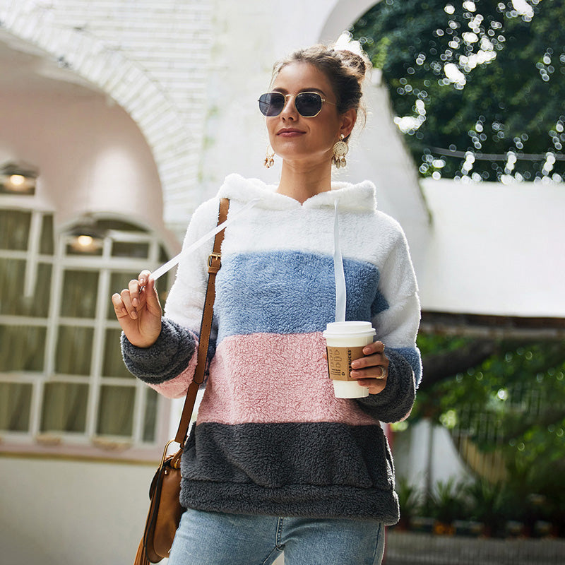 Women Tops Hooded Sweatshirt Pullover New Long Sleeve Stripe Multi-Color Fashion