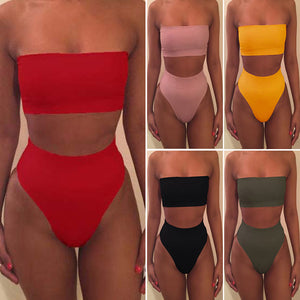 Summer Women's Sexy Solid Color Tube Tops Bikini 2pcs Set Swimsuit No Chest Pad