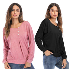 Load image into Gallery viewer, Women's Long Sleeve T-shirt Solid Color Loose Round Neck Bottoming Tops
