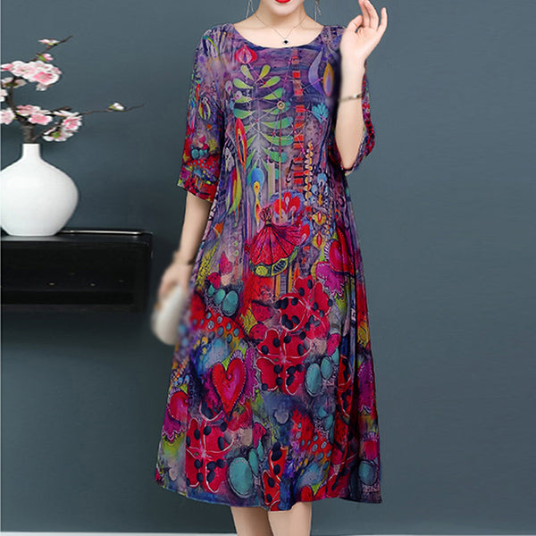 Summer Women's Casual Loose Floral Half Sleeve Silk-like Plus Size Midi Dress