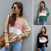 Load image into Gallery viewer, Women's Long Batwing Sleeve Tops Blouse -  Stripe, Three-Color Splice