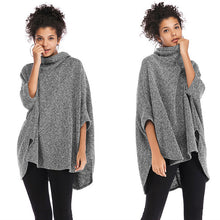 Load image into Gallery viewer, Women's Casual Turtleneck Sweater Loose Batwing Sleeve Knitwear Irregular Cloak