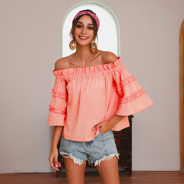 Women Tops Summer Off Shoulder Bell Sleeve Solid Color Sweet Cute Fashion