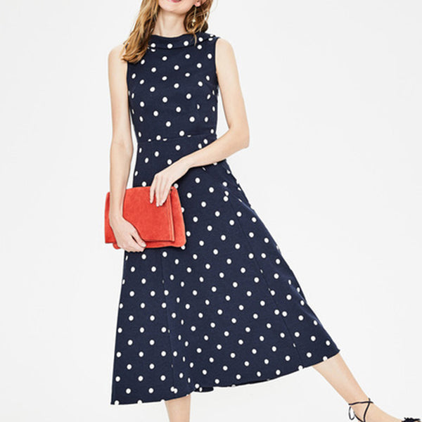Women Summer Dot Printing Boho Sleeveless Bow-Knot Backless Black Midi Dress
