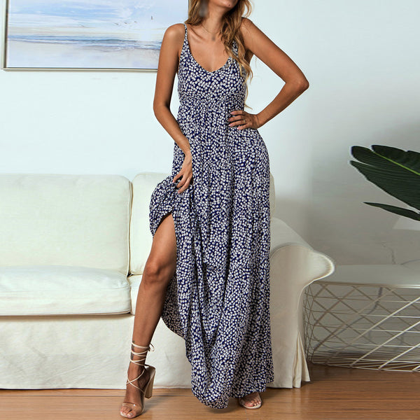 Women Boho V-Neck Spaghetti Straps Floral Maxi Dress Holiday Summer Beach