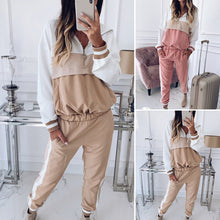 Load image into Gallery viewer, 2pcs/Set Women's Casual Zipper Long Sleeve Hooded Tops+Straight Pants Sportswear