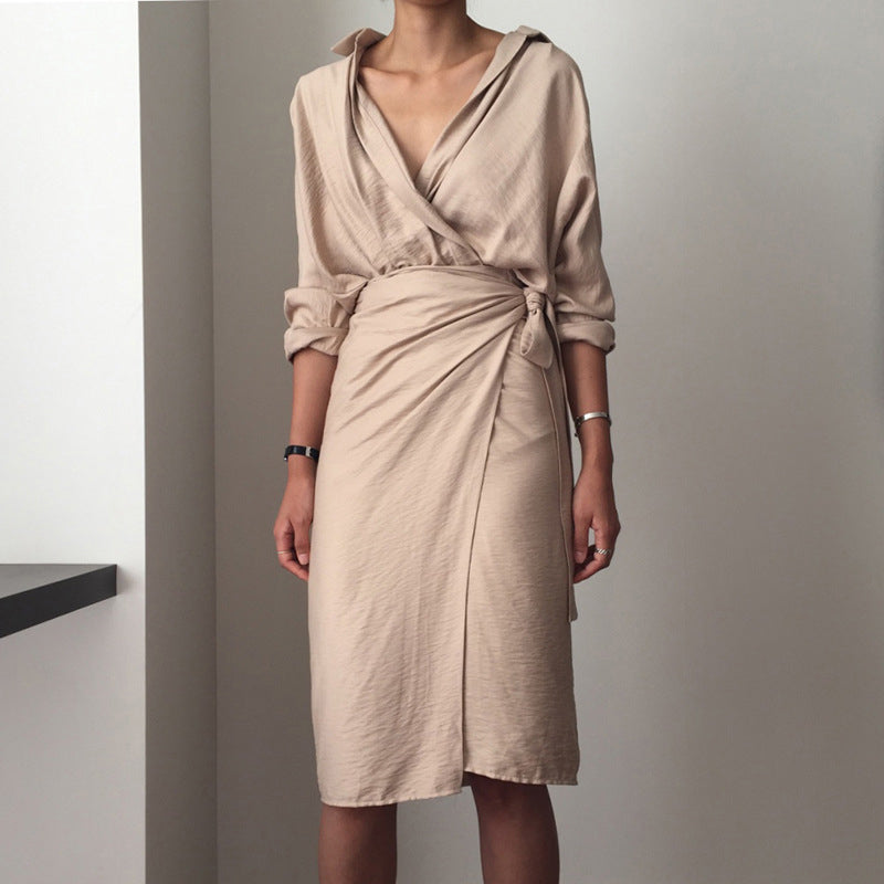 Women New Fashion Casual V Neck Solid Color Loose Long Sleeve Dress