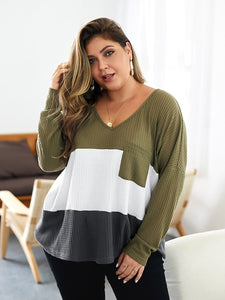 Women Casual Tops Autumn and Winter V-Neck Long Sleeve Knitwear Plus Size