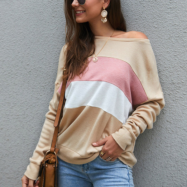 Women Tops Blouse Long Batwing Sleeve Stripe Three-Color Splice Fashion Loose