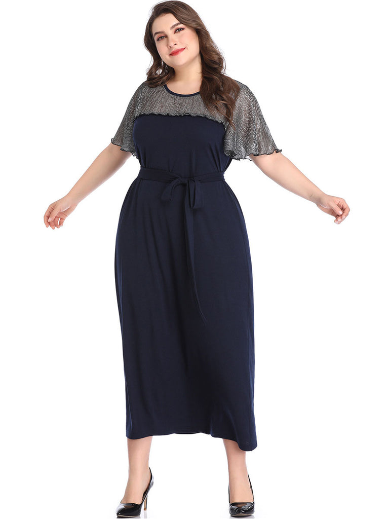Women Summer New Quality Navy Blue Short Sleeve With Belt Plus Size ...