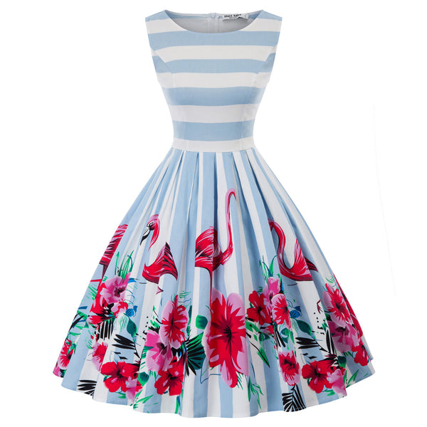 GK Retro Vintage Bird Pattern Sleeveless Pleated A-Line Party Picnic Dress
