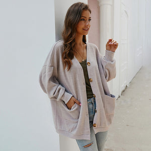 Women Button Long Puff Sleeve Coat Knitwear Outwear Pocket Solid Color Loose