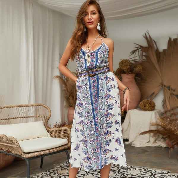 9ec3012e900 Women Summer Sling Boho Floral Backless Split Sexy Beach Party Long Dress