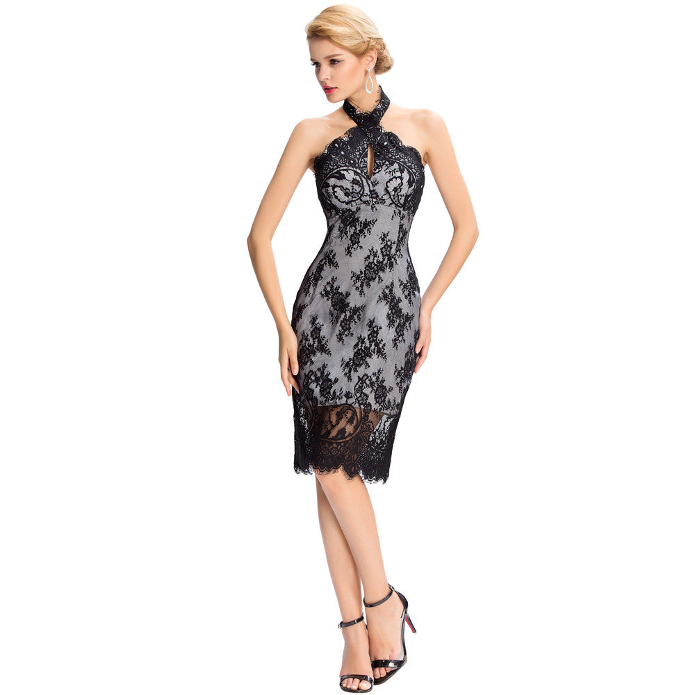 Grace karin black lace backless halter knee length evening prom dress grace karin womens black backless halter lace knee length cocktail ball evening prom party dress ombrellifo Image collections