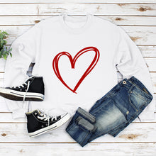 Load image into Gallery viewer, Heart Print Loose Round Neck Sweatshirt