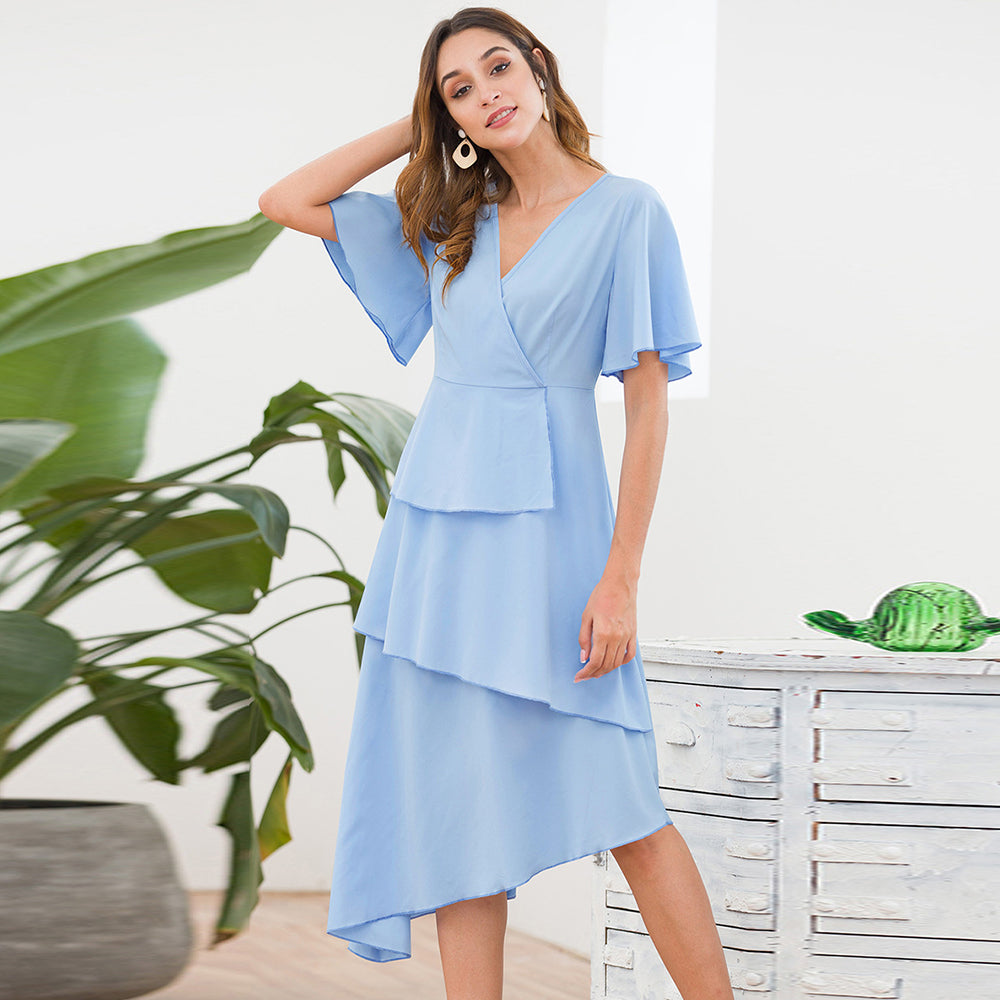 Women Summer V-Neck Bell Sleeve Irregular Hem Light Blue Fashion Elegant Dress
