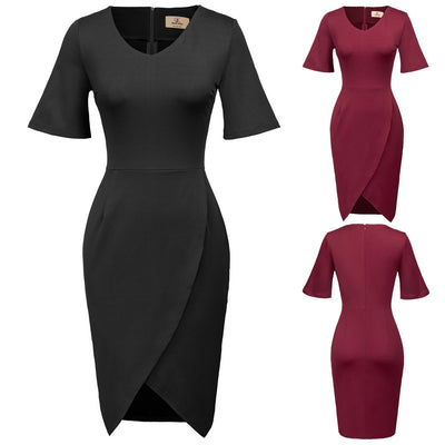 GRACE KARIN Women's Wine Red and Black Short Flared Cuffed Sleeve V-Neck Irregular Hem High Stretchy Hips-Wrapped Body-con Pencil Dress