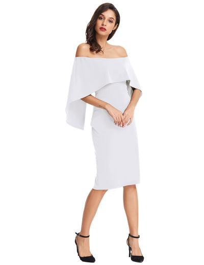 Grace Karin Sexy Sleeveless Off the Shoulder Drape Decorated Pencil Dress_White