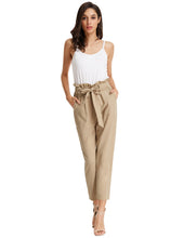 Load image into Gallery viewer, Women's Cropped Paperbag Waist Pants with Pockets