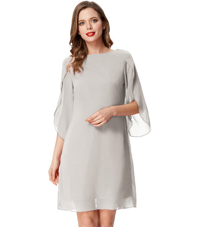 Copy of Summer 3/4 Split Sleeves Scoop Neck Comfortable Chiffon Dress
