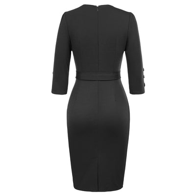 Women's 3/4 Sleeve Knee-Length Buttons Decorated Body-con Pencil Dress