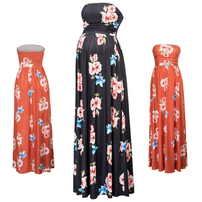 GRACE KARIN Black and Orange Maternity Women's Floral Pattern Strapless Straight Neck High Stretchy Dress With Pockets