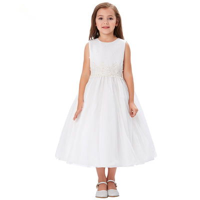 Grace Karin Tea Length A Line Sleeveless Round Neck Flower Girl Dress With Appliques / Faux Pearls_White