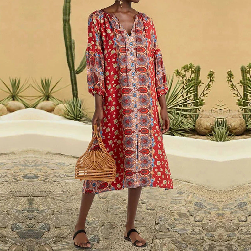 V-Neck Ethnic Print Loose Casual Vacation Midi Dress - PRESALE