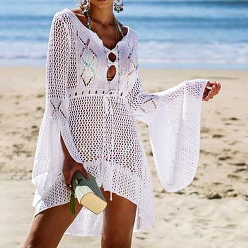 Front Short Back Long Crochet Cutout Knitted Cover Up