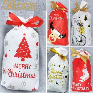 50pcs Xmas Drawstring Wedding Favours Christmas Candy Wrapping Bag 15*23.5*6cm
