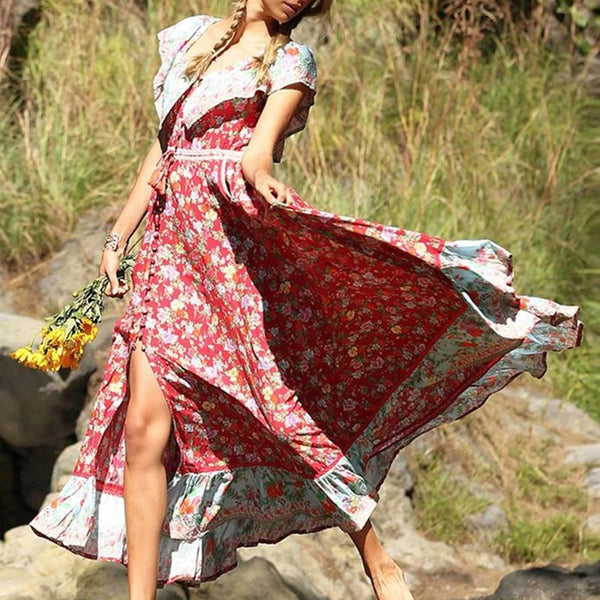 Women Summer Chiffon Floral Boho Lapel Big Hem Fashion New Elegant Dress - PRESALE