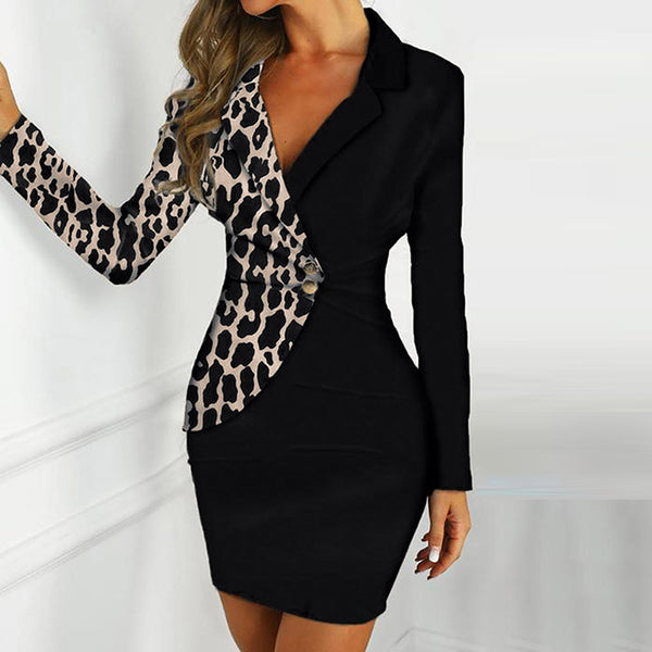 Women's Slim Bodycon V-Neck Office Work Dress Lapel Blazer Long Sleeve Plus Size