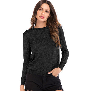 Women's Casual Loose Round Neck Tops Knitwear Pullover Long Sleeve Solid Color