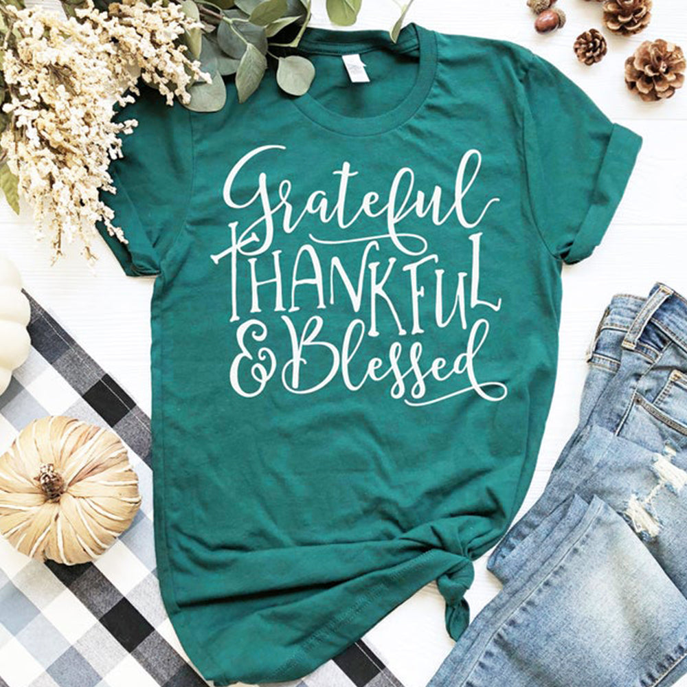Thanksgiving Day Grateful Thankful Blessed O-Neck Short Sleeve T-Shirt