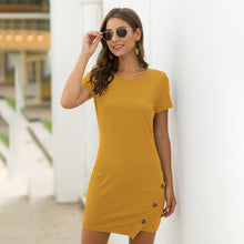 Load image into Gallery viewer, Women's Casual Solid Color Round Neck Pullover Dress Button Decor Short Sleeve