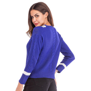 Women's Casual Loose V-Neck Tops Long Sleeve Sweater Jumper Warm Knitwear