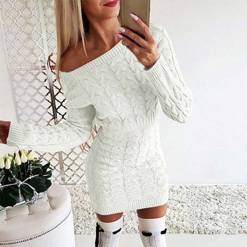 Autumn & Winter Women's Warm Sweater Mini Dress Long Knit Pullovers Casual