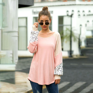 Women Tops Blouse Long Puff Sleeve Round Neck Leopard Splice Fashion Loose
