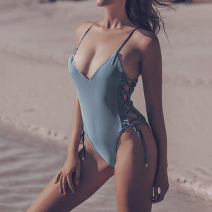 Adjustable Solid Color One-Piece Beach Bikini